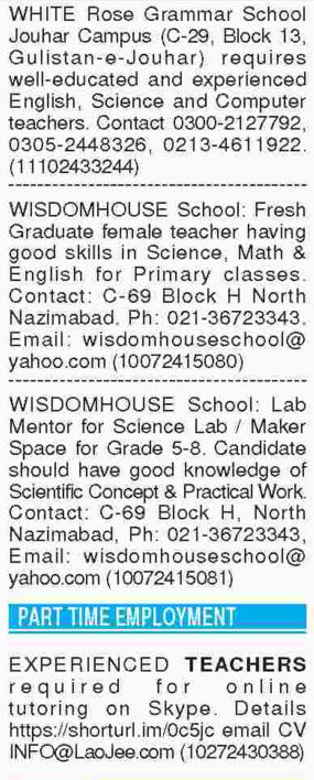 Teacher Jobs 2018 in Karachi