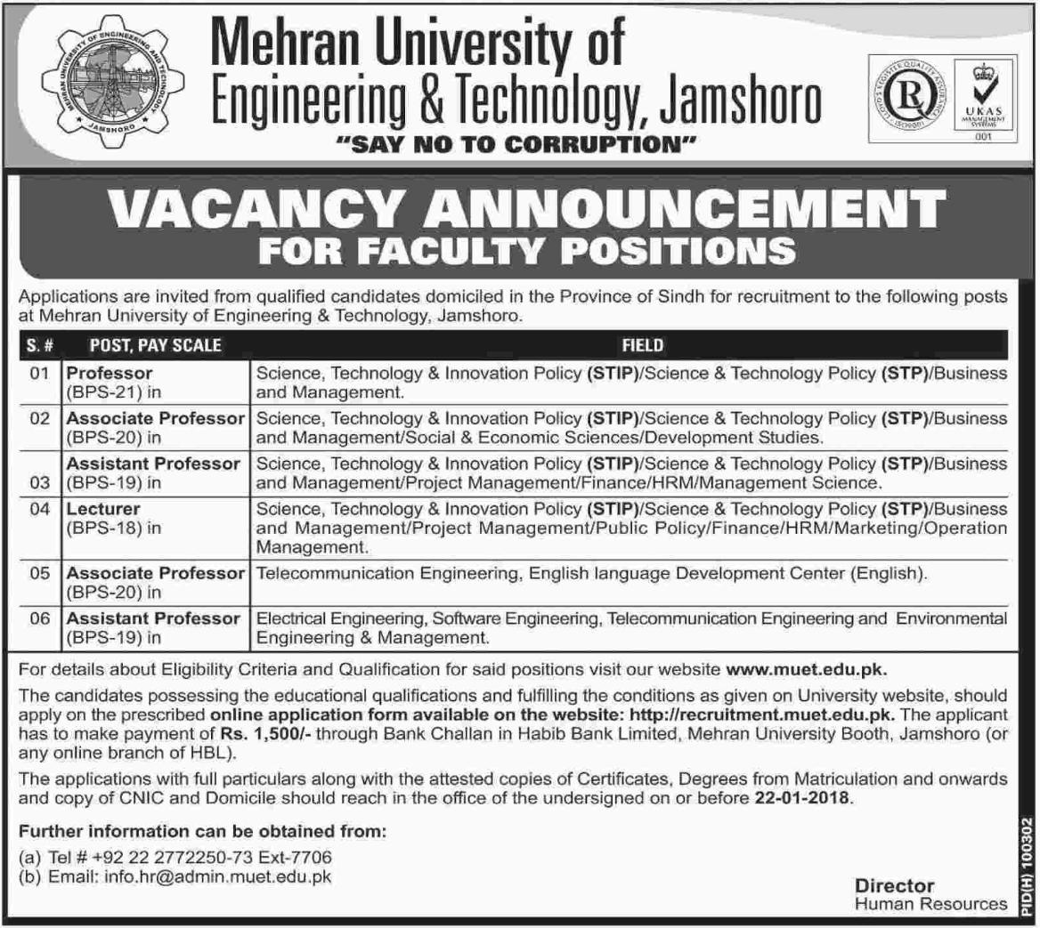 Mehran University Jobs 2018 for Professor & Lecturer