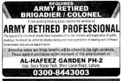 Army Retired Professional Jobs in Punjab