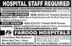 Medical Officer & Staff Nurse wanted in Farooq Hospitals