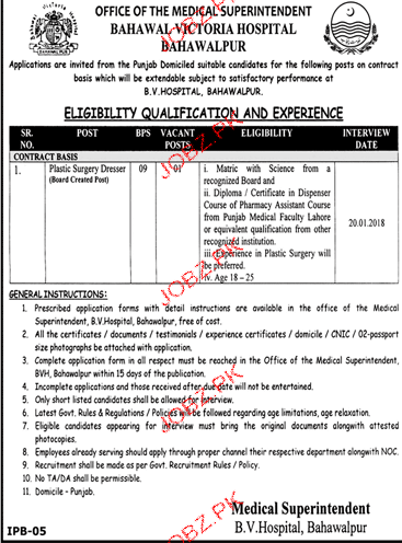 Bahawalpur Victoria Hospital Jobs