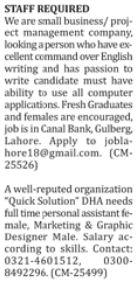 Male & Female Staff required in Karachi