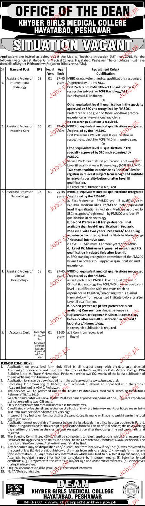 Khyber Girls Medical College Jobs