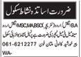 Teacher required in Punjab