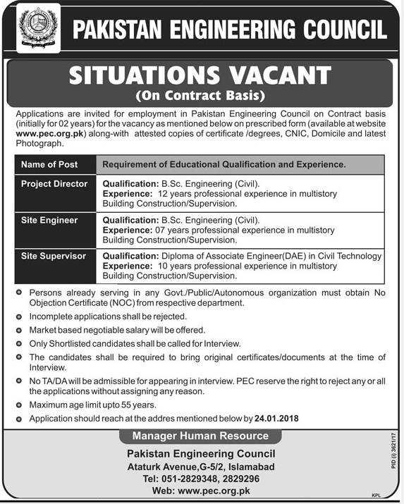 Pakistan Engineering Council PEC Jobs 2018 for Engineer