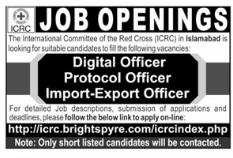 ICRC Jobs 2018 for Digital Officer & Protocol Officer