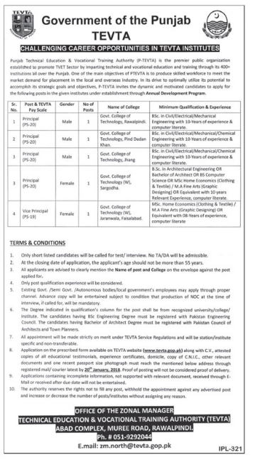 TEVTA Jobs for Principal & Vice Principal