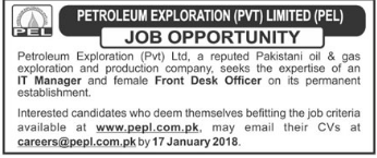 Front Desk Officer Jobs in Petroleum Exploration PEL