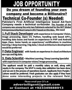 Technical CoFounder, Developer, Data Engineer/Scientist Jobs