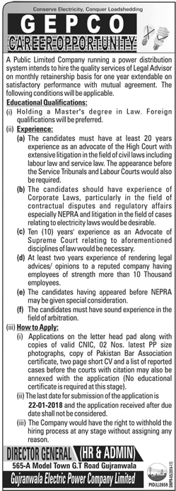 GEPCO Electric Power Company Jobs for Legal Advisor