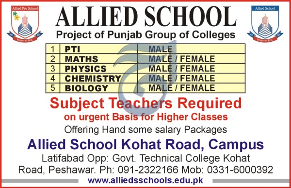 Subject Teacher Jobs 2018 in Allied School