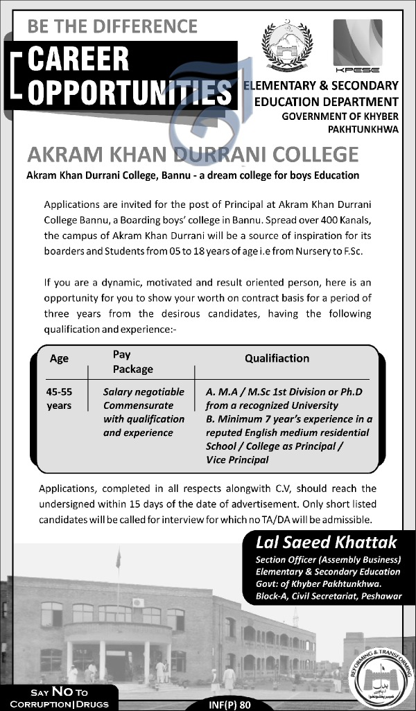 Akram Khan Durrani College Jobs 2018 for Principal