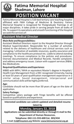 Assistant Medical Director Jobs for Fatima Memorial Hospital