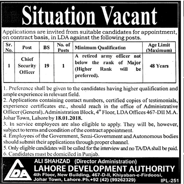 LDA Jobs 2018 for Chief Security Officer