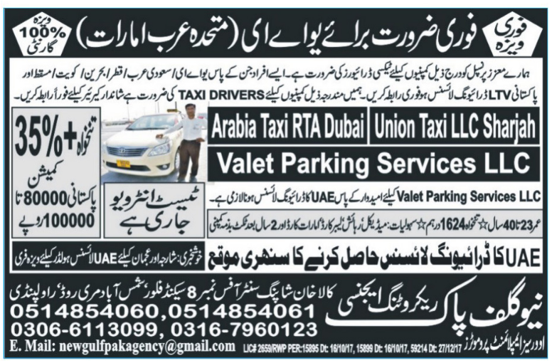 Taxi Drivers required in UAE
