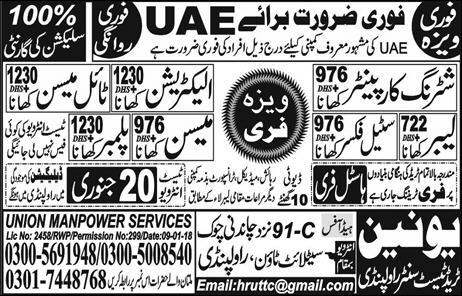 Tile Mason & Steel Fixer Jobs in UAE