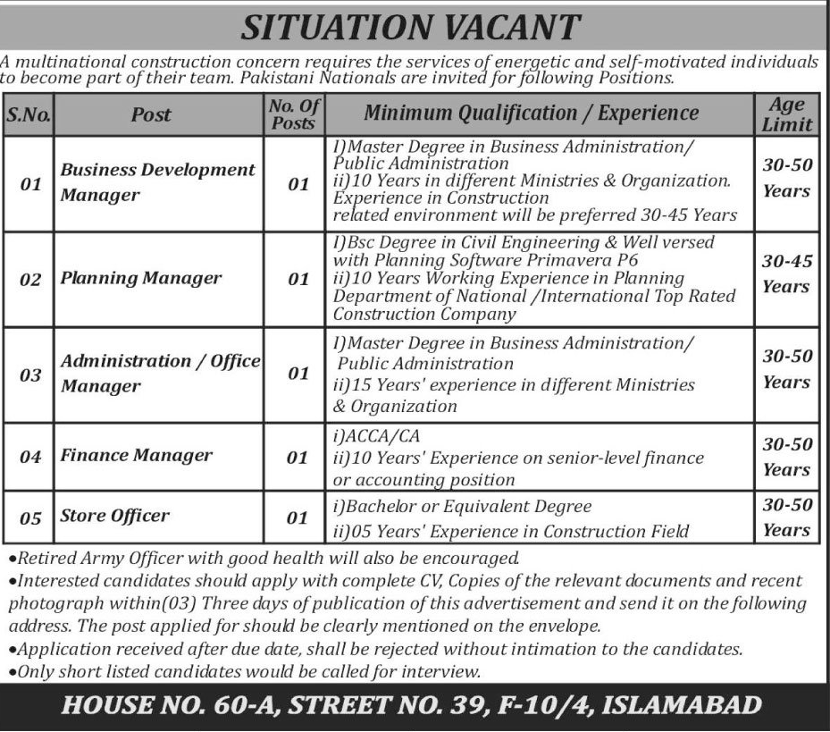 Business Development Manager & Planning Manager Jobs