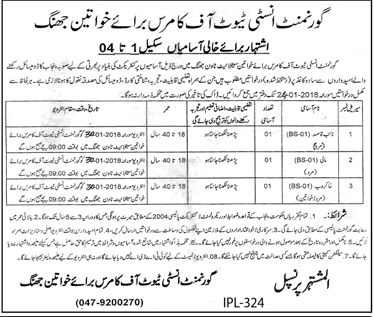 Government Institute of Commerce Jobs 2018