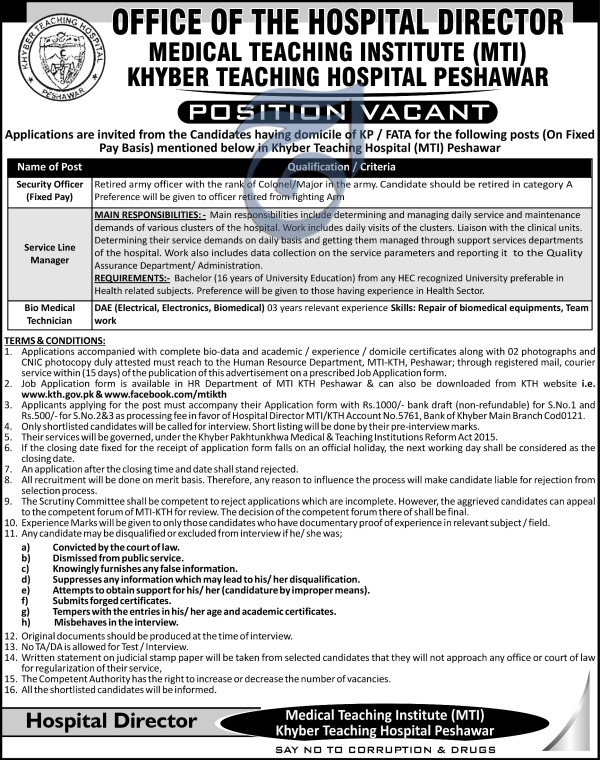 Medical Teaching Hospital MTI Jobs for Service Line Manager