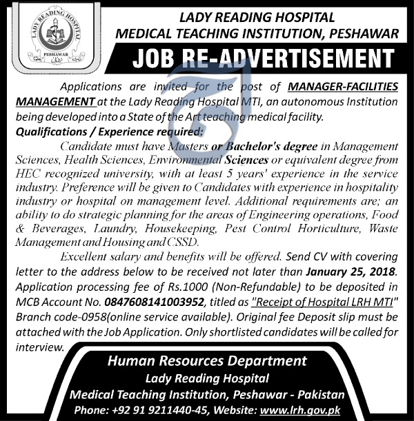 Manager Facilities Management Jobs in Lady Reading Hospital