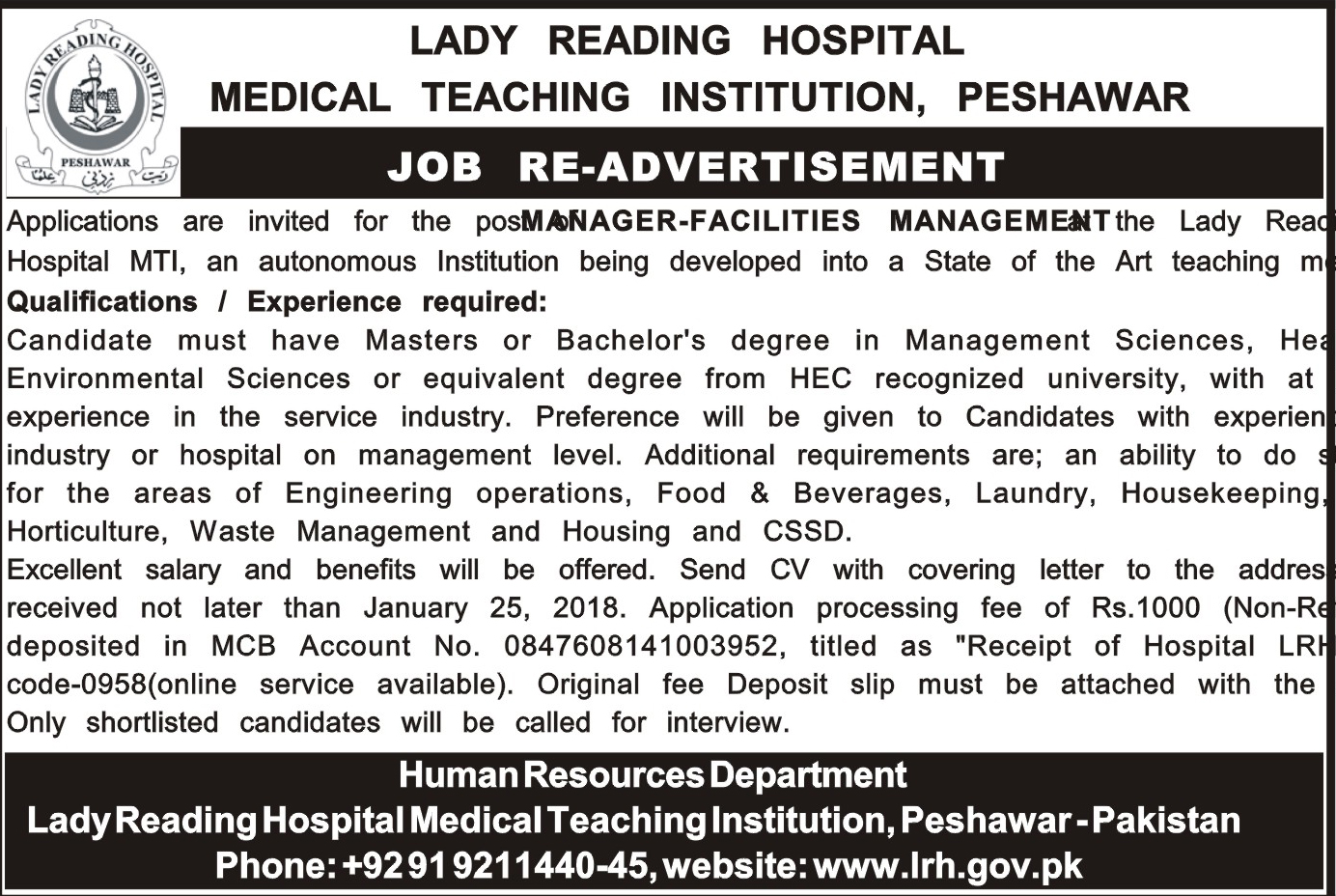 Lady Reading Hospital LRH Jobs 2018 for Manager Facilities