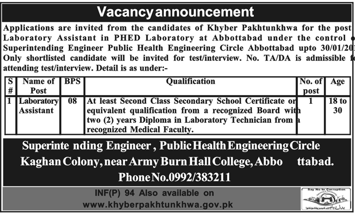 Public Health Engineering Circle Jobs 2018 for Lab Assistant