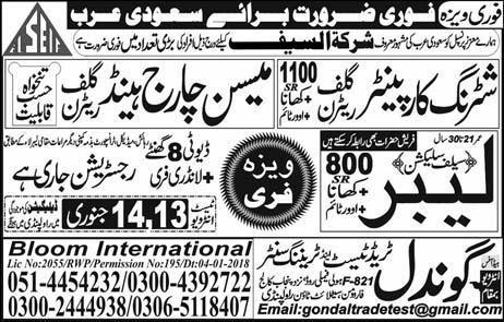 Shuttering Carpenter & Labour Jobs in Saudi Arabia