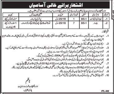 Laboratory Attendant & Balidar Job Opportunities 2018