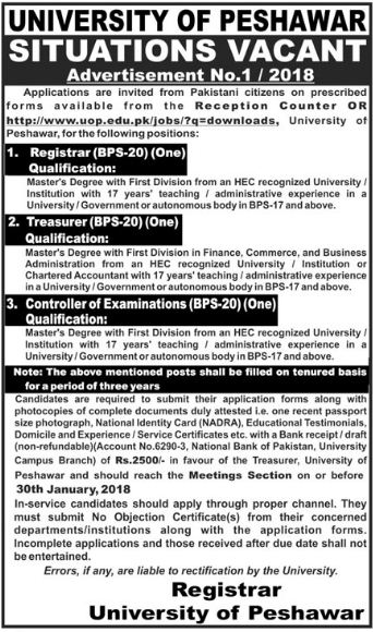 Registrar, Treasurer & Controller of Examinations Jobs