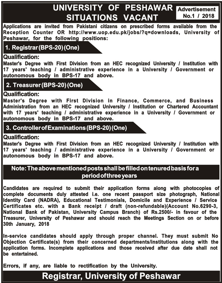 University of Peshawar UOP Job Opportunities 2018