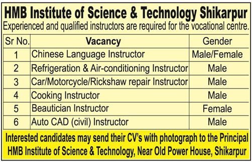 HMB Institute of Science & Technology Need Instructors