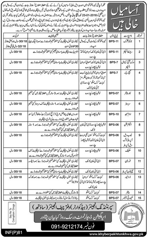 Jr Clerk, Inspectors, Carpenter, Electrician, Foreman Jobs