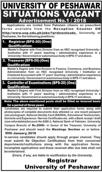 UOP Need Registrar, Treasurer & Controller of Exams