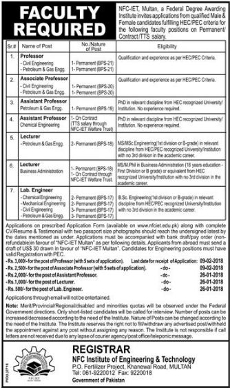 NFC-IET Multan Faculty Required 2018