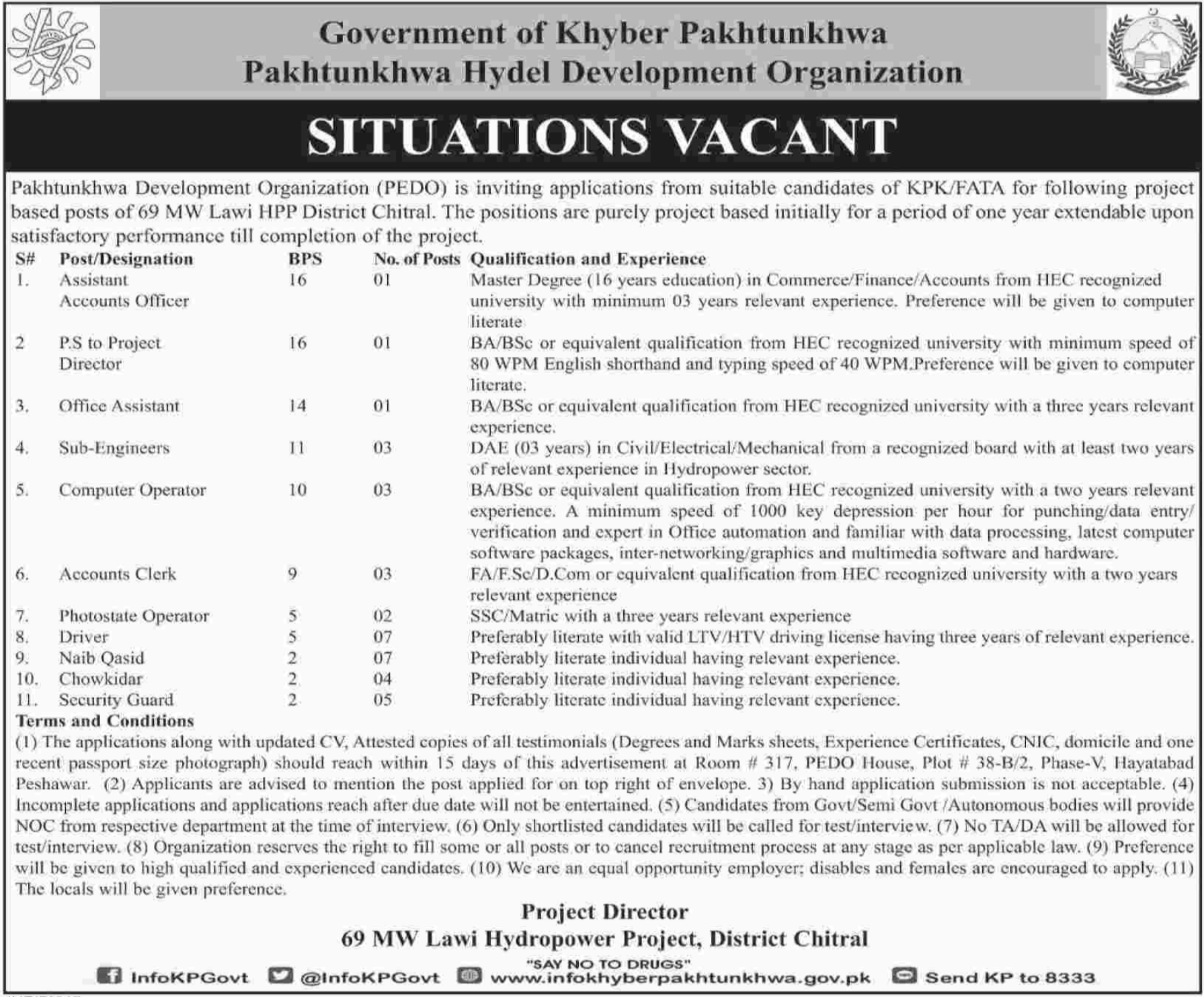 Pakhtunkhwa Hydel Development Organization Jobs 2018