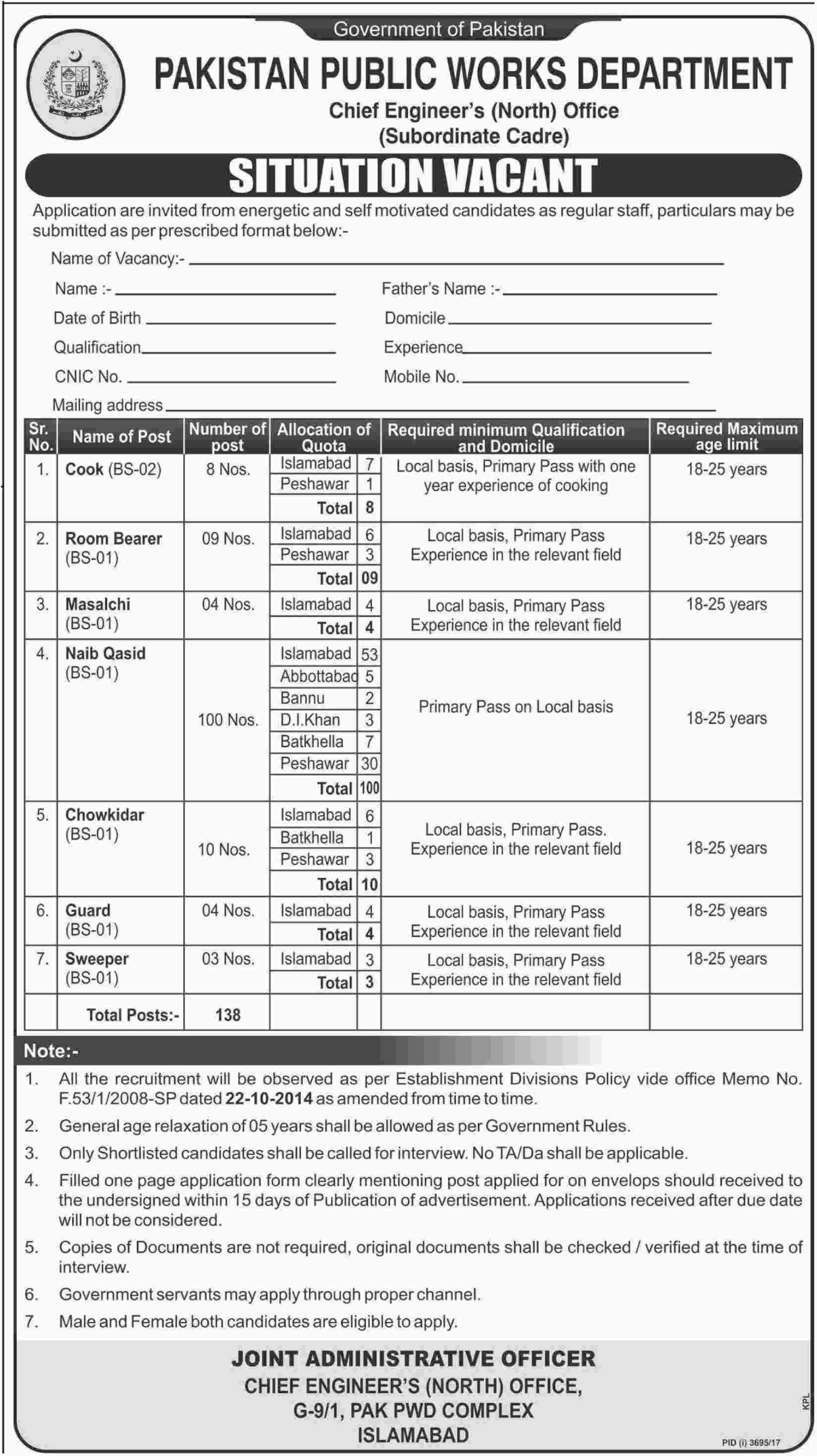 Pakistan Public Works Department Jobs 2018 for Watchman