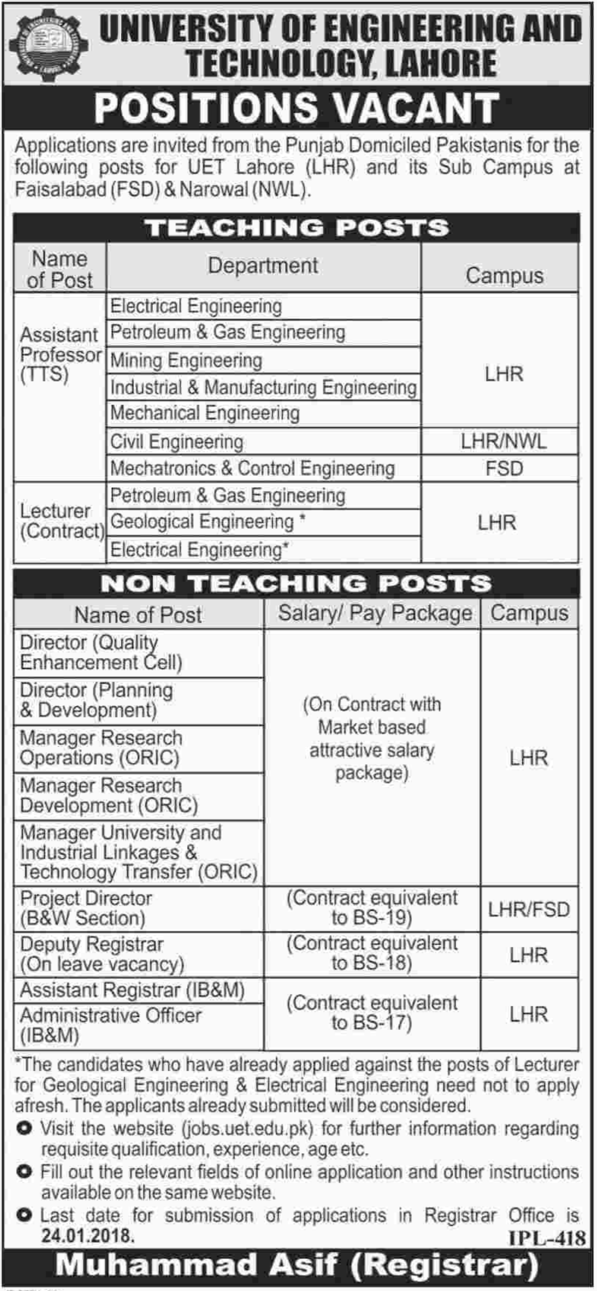 UET Lahore Jobs 2018 for Lecturer & Assistant Registrar