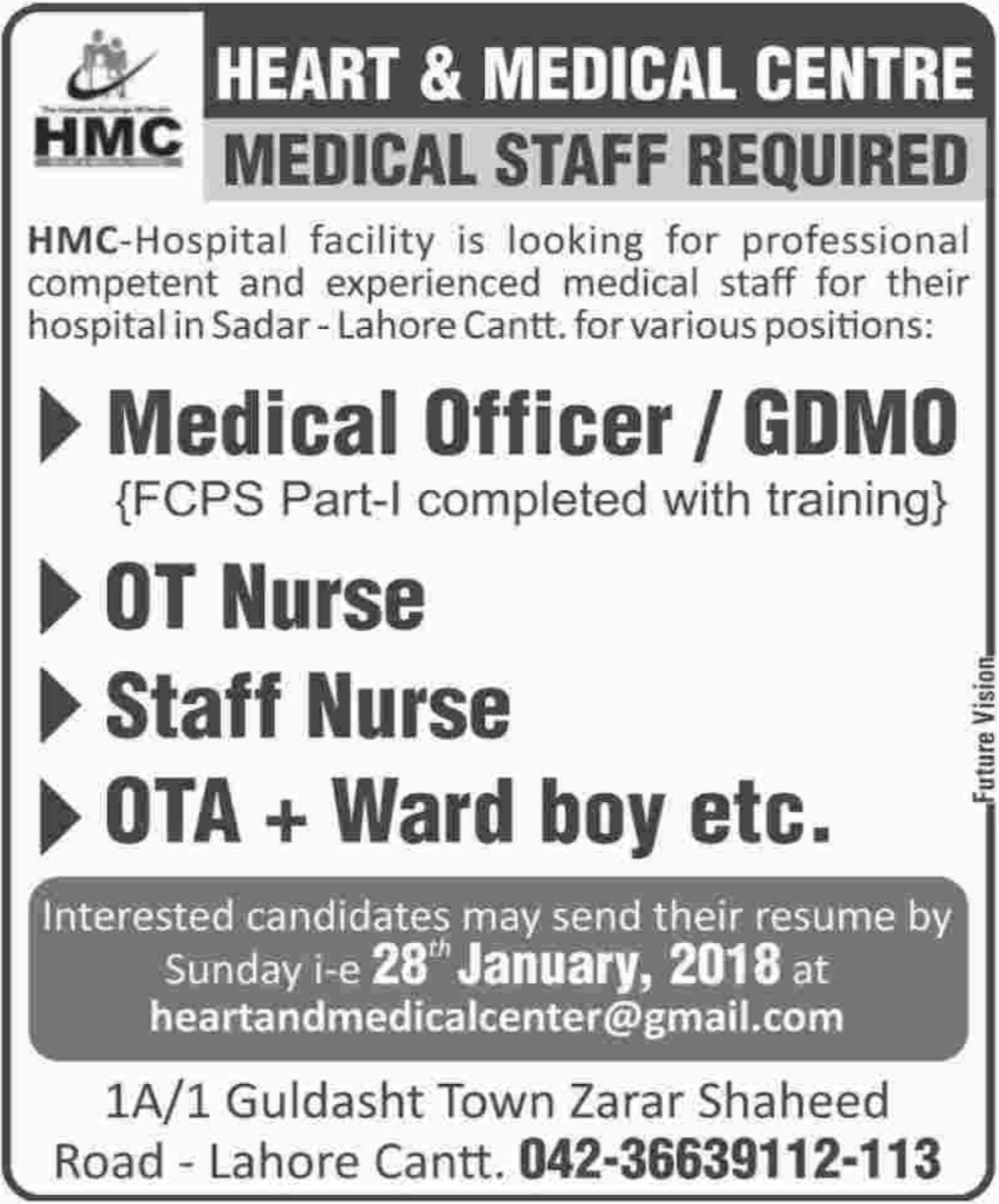 HMC Hospital Lahore Jobs for Medical Officer & OT Nurse
