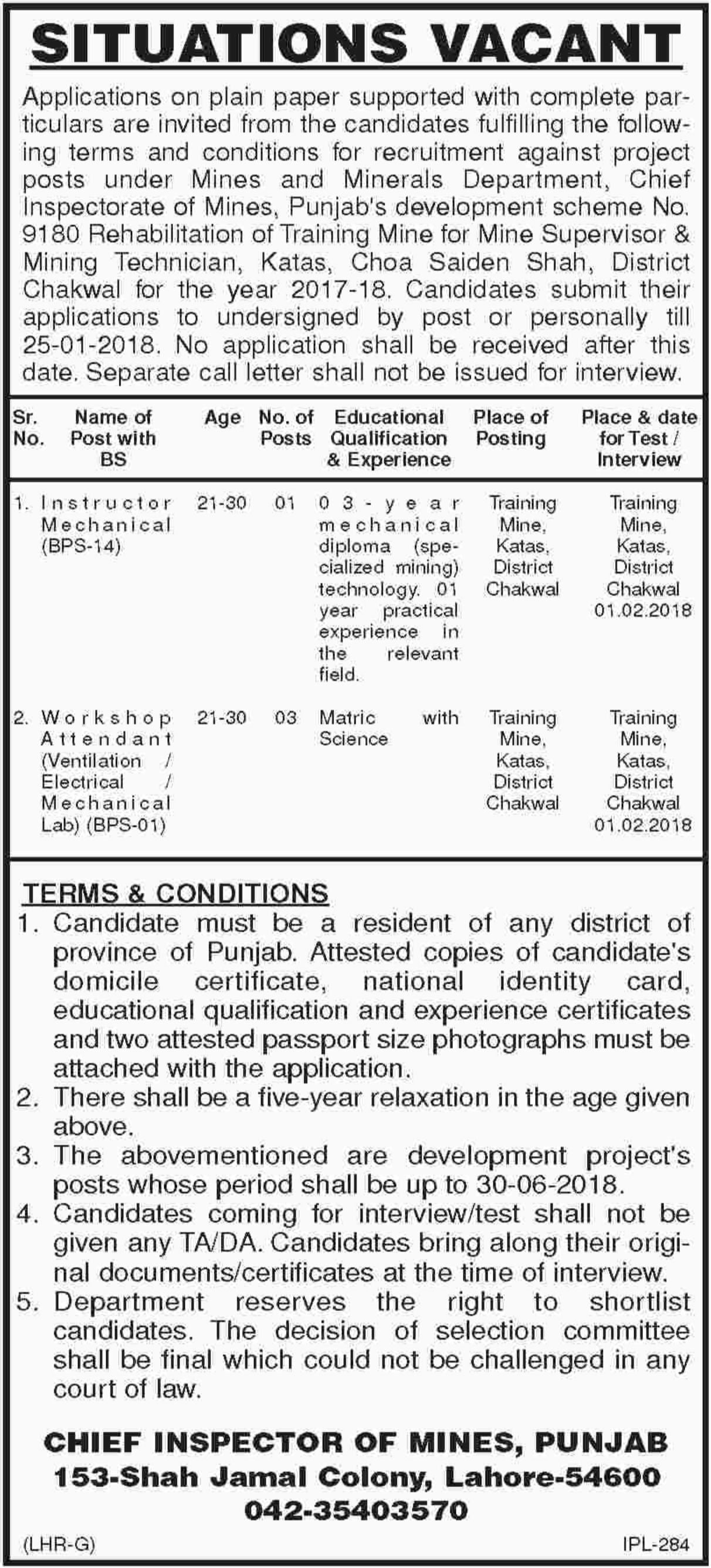 Instructor Mechanical & Workshop Attendant Jobs 2018