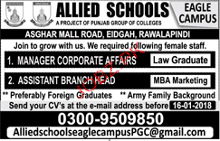 Manager Corporate Affairs Job in Allied Schools