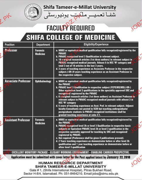 Shifa Tameer e Millat University STMU Jobs