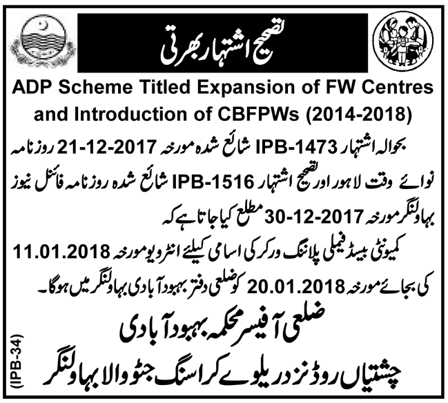 Community Based Family Planning Worker Jobs in Bahawalnagar
