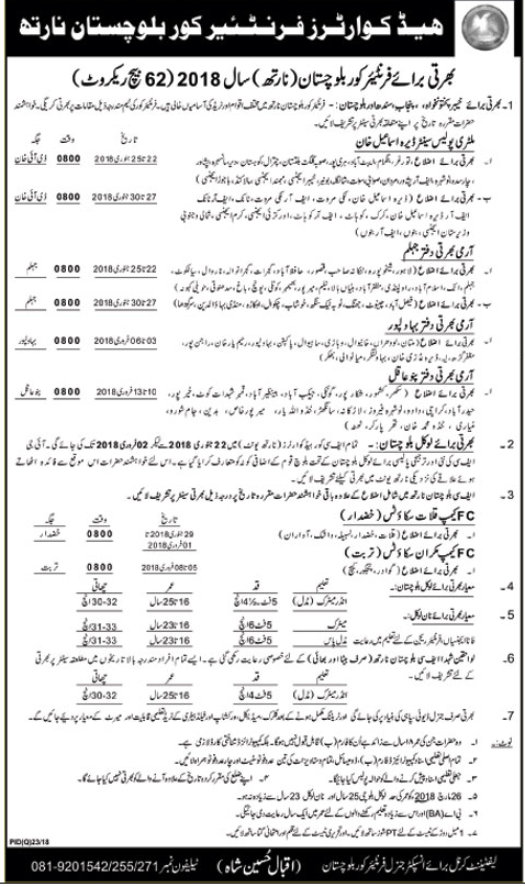 FC Frontier Corps Balochistan Jobs 2018 for Regorit