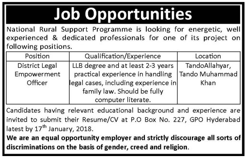 NRSP Sindh Jobs 2018 for District Legal Empowerment Officer