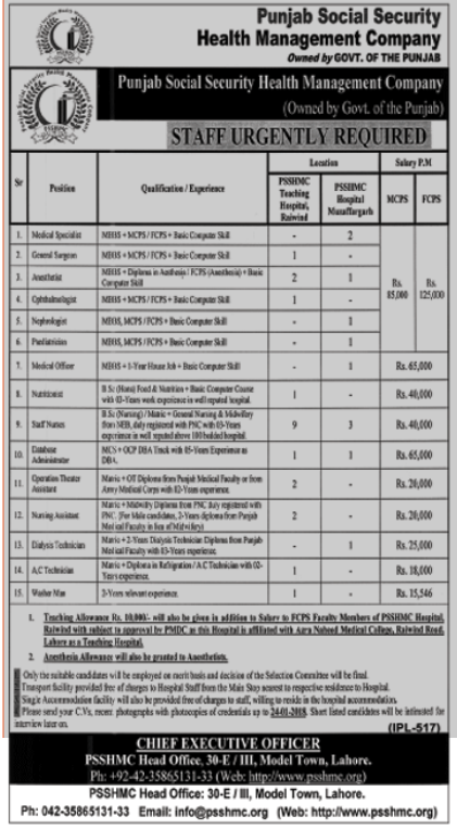 PSSHMC Jobs 2018 for Medical Specialist and General Surgeon