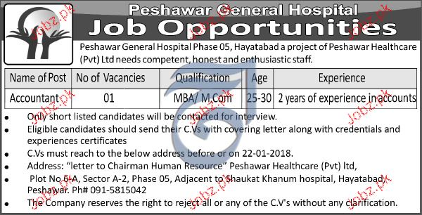 Peshawar General Hospital Jobs