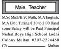Male Teacher Jobs in Multan 2018