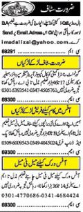 Office Staff wanted in Lahore