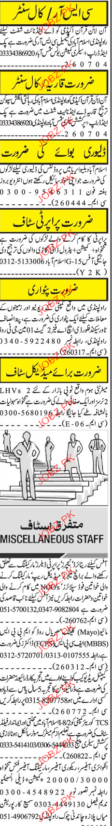Call Center, Delivery Boys Job Opportunity