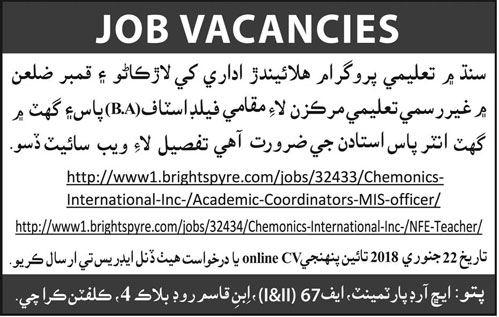 Field Staff & Teacher Jobs Opportunity in Sindh